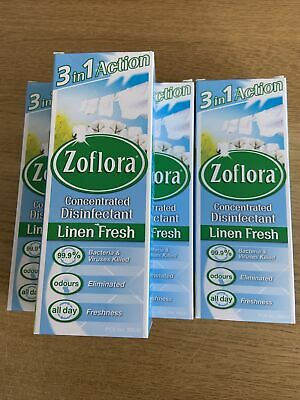 4 X Zoflora Concentrated Disinfectant-Linen Fresh - 120ml - Spray Cleaner • 5£