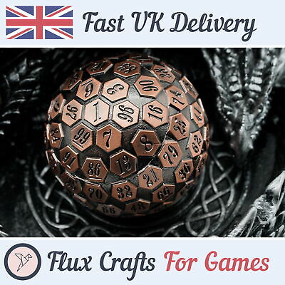 AU41.60 • Buy D100 Copper Metal RPG Dice DND Shadow Wash Heavy Tabletop Dungeons Flux Crafts