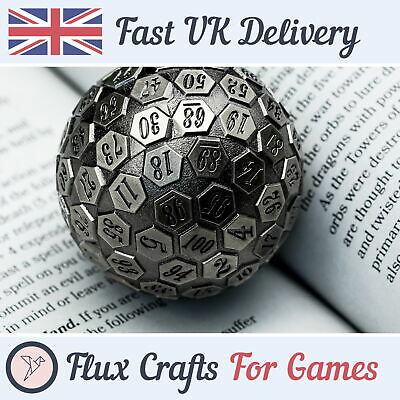 AU41.60 • Buy D100 Silver Metal RPG Dice DND Shadow Wash Heavy Tabletop Dungeons Flux Crafts