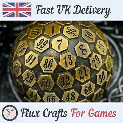 AU41.60 • Buy D100 Gold Metal RPG Dice DND Shadow Wash Heavy Tabletop Dungeons Flux Crafts