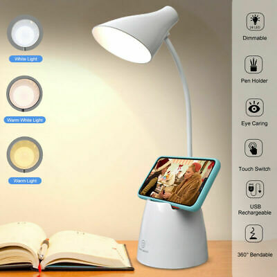 AU8.85 • Buy USB Rechargeable 3 Mode Touch LED Reading Light Desk Bedside Study Table Lamp