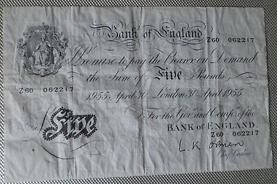 1955 Bank Of England - White Five Pound Note  Prefix Z60 - L K O'Brien • 140£