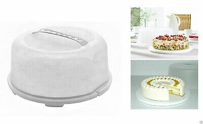 Round Plastic Cake Carrier Box Storage Box Container Clear Lockable Handle 34cm • 9.95£