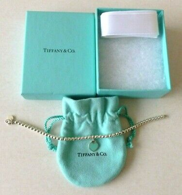 RETURN TO TIFFANY Mini Silver/Blue Heart Tag,4mm Ball Bead Bracelet - Excellent • 84.99£