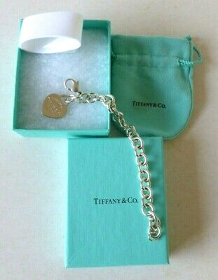 RETURN TO TIFFANY(£385RRP)Sterling Silver Drop Heart Tag Bracelet - Excellent   • 89.99£