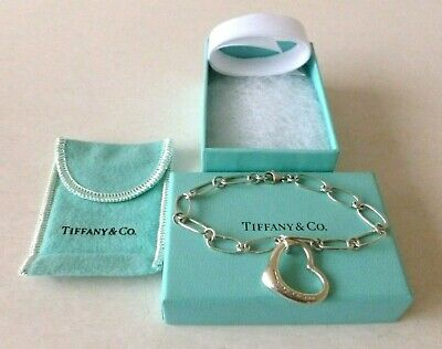 TIFFANY & Co. Elsa Peretti 7  Oval Link Silver Bracelet With Open Heart Tag-Used • 39.99£