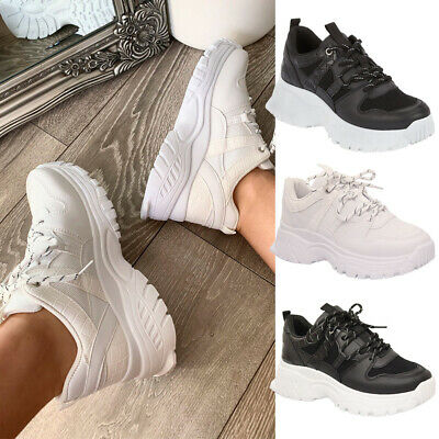 £14.95 • Buy Womens Running Trainers Ladies Lace Up Chunky Sole Mesh Sneaker Sport Shoes Size