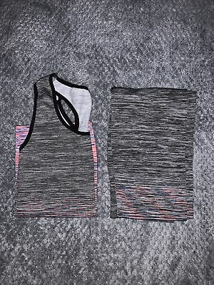 Grey And Pink Ladies Gym Fitness Workout Yoga Vest & Leggings Set Sports Clothes • 2£