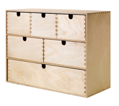 Ikea MOPPE Classic Birch Plywood Mini Wooden Chest Of 6 Drawers, Storage Boxes • 39.95£