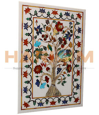 3'x2' White Marble Dining Table Top Multi Stone Floral Inlay Garden Decors W028 • 806.27£