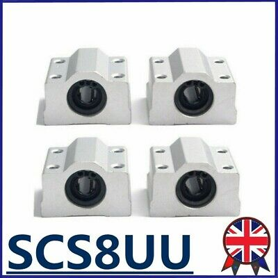 4PCS Pillow Block Linear Slides SCS8UU 8mm Unit For CNC Linear Ball Bearing UK • 12.50£