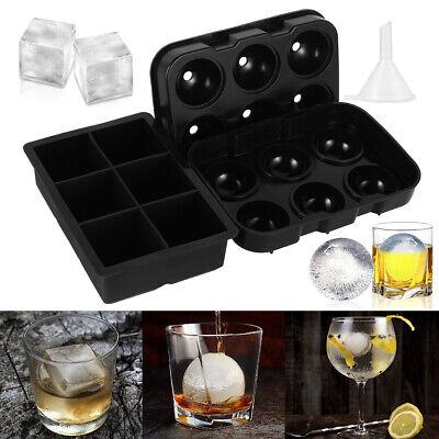 Ice Cube Large Jumbo DIY Mould Sphere Ball Silicone Maker Mold Square Tray UK/ • 8.55£