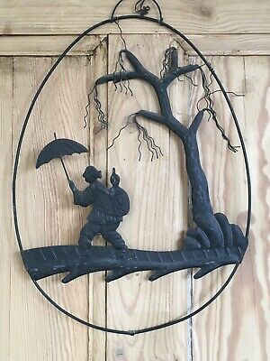 Unusual Pressed Tin Metal Wall Hanging, Oriental Woman, Child & Tree Silhouette • 15£