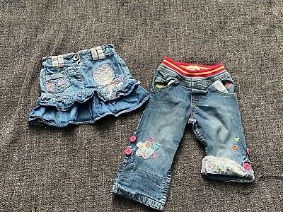 Baby Girl Denim Skirt & Roll Up Jeans Bundle Next Blue Zoo Age 12-18 Months Blue • 2.50£