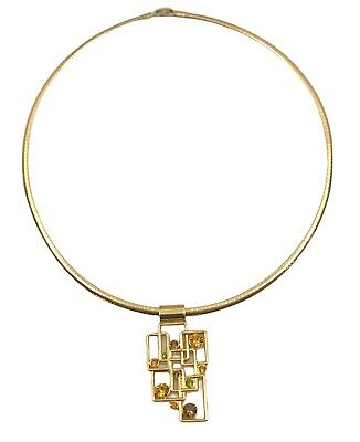 $ CDN20.07 • Buy Lia Sophia Jigsaw Green/Yellow/Brown Slide & Gold Tone Elizabeth Omega Necklace