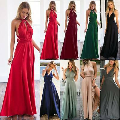 Women Evening Formal Wedding Cocktail Ball Gown Prom Bridesmaid Long Dress Party • 19.59£