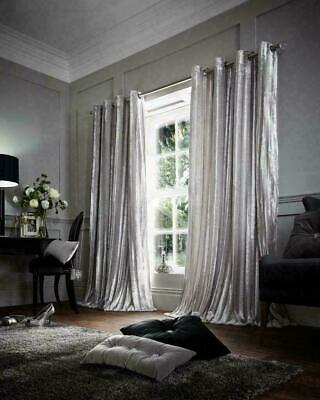 £26.95 • Buy Luxury Stripe Shiny Silver Faux Fur Fully Line Ring Top Eyelet Curtains 66x72