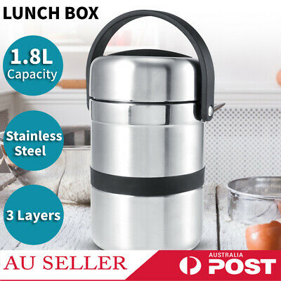 AU42.62 • Buy 3 Layers Steel Thermo Insulated Thermal Food Container Bento Round Lunch Box AU