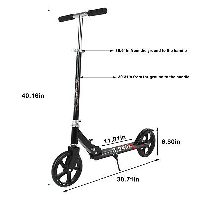 AU53.79 • Buy Folding Push Scooter Big Dual Wheels Adult Commuter Child Height-Adjustable AU