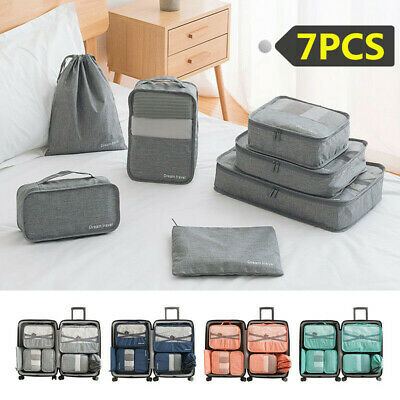 AU6.59 • Buy 7Pcs Travel Organiser Pouches Storage Bag Packing Cubes Clothes Suitcase Luggage