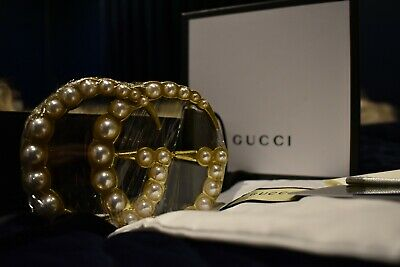 AU660 • Buy GUCCI GG Pearl Black Belt - BNWT