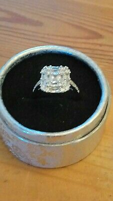 Engagement Ring. Princess Cut  CRYSTALS . SIZE. Q. Stamped 925 Silver. New..  • 3.99£