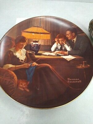 $ CDN3.36 • Buy Norman Rockwell  Father's Help  Edwin Knowles Collectors Plate Bradford Exchange