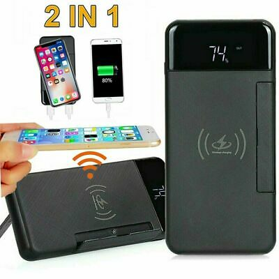 AU31.99 • Buy Wireless 900000mAh Qi Power Bank 2USB Digital Battery Charger + Phone Stand AU