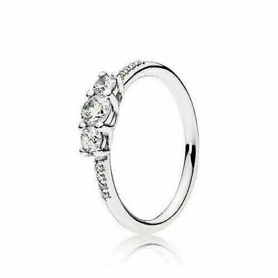 AU39.99 • Buy Pandora Sterling Silver Clear Three-Stone Ring S925 ALE - Valentine Gift