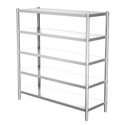 £159.95 • Buy Kitchen Catering Stainless Steel 5 Tier Storage Rack Commercial Shelving Unit