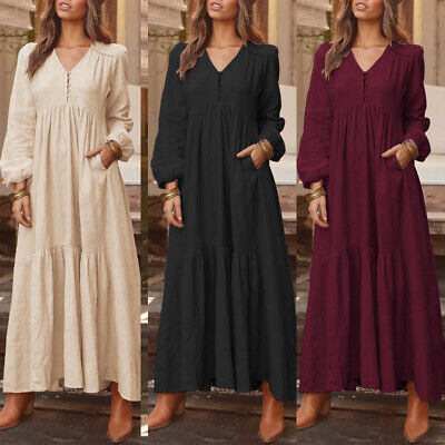 AU17.85 • Buy ZANZEA Women V Neck Long Sleeve Evening Casual Loose Party Flare Dress Maxi Plus