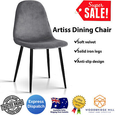 AU157.54 • Buy 4 X Dark Grey Fabric Dining Chairs Kitchen Seat Home / Cafe Furniture - Artiss