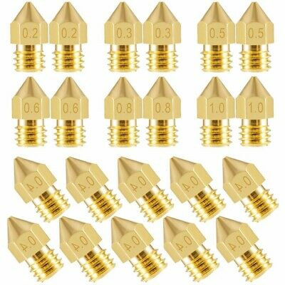 AU12.26 • Buy 10-20Pcs 3D Printer Nozzle Accessory MK8 0.4mm For CR-10 For Ender 3 For Anet A8
