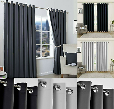 Blackout Eyelet Curtains Black Out Thermal Ring Top Ready Made Curtain Pair UK • 13.29£