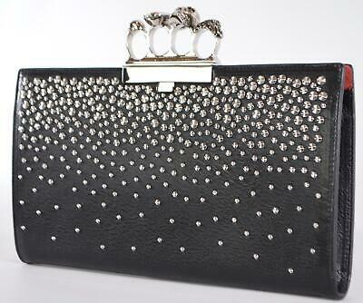 AU807.46 • Buy New Alexander McQueen $2,090 Studded Leather 4 Ring Crystal Skull Clutch Bag