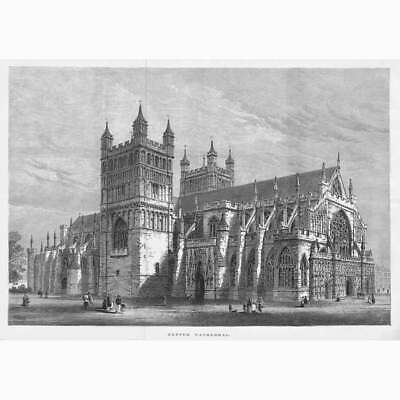 £16.95 • Buy EXETER CATHEDRAL - Antique Print 1877