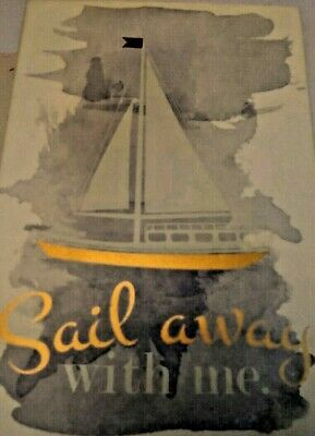 Sail Away With Me Wood Ivory & Gold Wall Art Plaque Sign Nautical Sailboat 9 X 6 • 11.32£