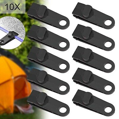 Reusable Windproof Clip Awning Clamp Tarp Clips Snap Hanger Tent Camping 10PCS • 6.99£