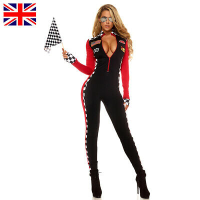 £17.99 • Buy Ladies Racer Driver Costume Super Race Car Jumpsuit Outfit With Gloves