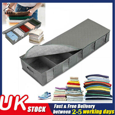 Large Capacity Under Bed Storage Bag Box 5 Compartments Clothes Shoes Organizer • 10.99£