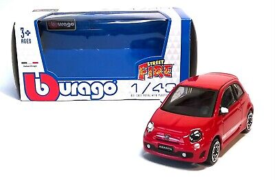FIAT 500 ABARTH In Red - 1:43 Die-cast Car Model By Burago - Street Fire Toy New • 4.75£