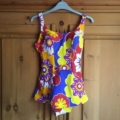 Vintage St Michael Bright Floral Swimsuit With Skirt Detailing M&S Size 8? • 2£