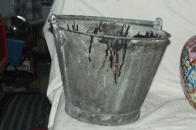 Galvanised Antique Vintage  Bucket Planter Kindling Store  8 1/2 Tall • 18£