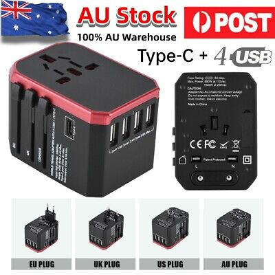 AU18.13 • Buy Universal International Travel Adapter 4 USB + Type C Power Charger Converter AU