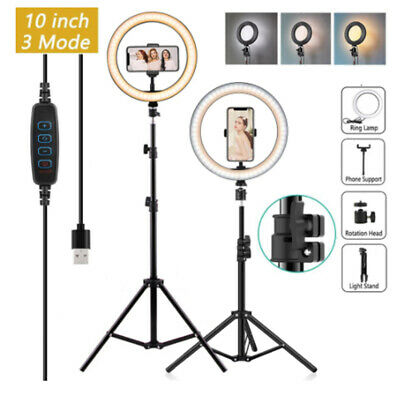 AU8.99 • Buy 10Inch Led Ring Light Selfie Ringlight Makeup Lamp Video Studio With Tripod Live