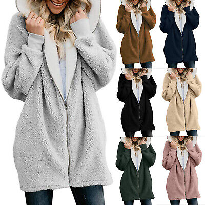Ladies Coat Plus Size Warm Fluffy Outwear Winter Warm Hoody Long Jacket UK 2021 • 16.99£