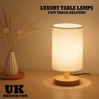 £12.99 • Buy Bedroom LED Bedside Lamp Warm White Night Light Bulb Dimmable Wood Table Lamp UK