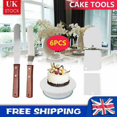 £8.79 • Buy 6Pcs Cake Decorating Tools Kit Smoother Spatula Rotating Stand Turntable 11-24
