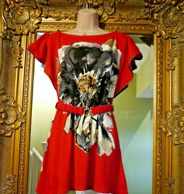 £12.99 • Buy Bnwt New Pussycat London Quirky Red Tunic 1970's Abba Look Dress Size S Uk 8