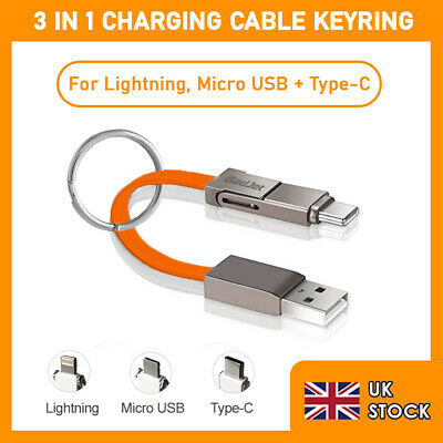 £4.49 • Buy Gadjet 3 In 1 Charging Cable Keyring Portable Data Sync Micro USB 8-Pin Type C